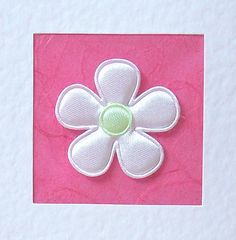 Wedding Day Card - white satin flower with coloured satin centre
