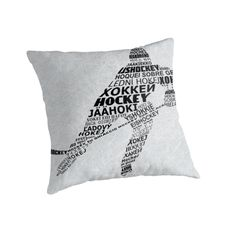 """Typographic Hockey Player Languages "" Throw Pillows by gamefacegear 