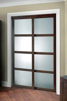 Colonial Elegance Fusion Plus Framed Frosted Glass Sliding Door at Menards®: Colonial Elegance® Fusion Plus x Cherry Framed Frosted Glass Sliding Door Glass Closet Doors, Sliding Closet Doors, Sliding Glass Door, Glass Doors, Hallway Closet, Pocket Door Frame, Pocket Doors, Interior Trim, Interior Barn Doors
