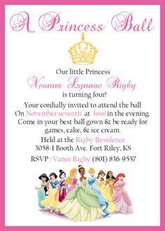 Disney's Princess birthday invite