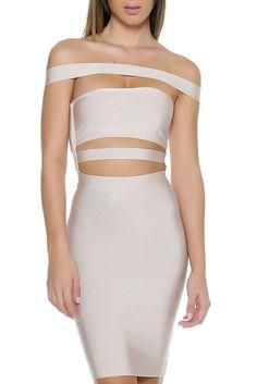 KJ Bandage Dress- NUDE