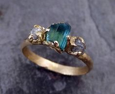 Raw blue green Indicolite Tourmaline Diamond Gold Engagement  Engagement Wedding Ring One Of a Kind Gemstone Three stone Ring byAngeline