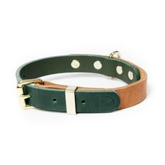 Two Tone Leather Dog Collar - Natural / Green