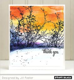 PB Etched Branches Stamp - artwork by Jill Foster - Incredibly lovely scene