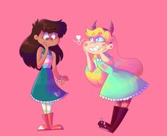 """Oh my goodness Marco, that dress suits you better than it does me! You look adorable!""""  marco asked to try on one of star's dresses- and star is more than happy to supply!"""