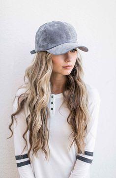 gray suede baseball cap, baseball cap, varsity stripe shirt, blonde hair, wavy hair, fashion, style, fall fashion