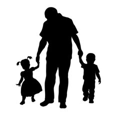 Custom Silhouette Print  Father and Children  Perfect door BlueClara