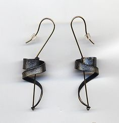 Hand-made contemporary earrings by Andy Cooperman, Seattle metalsmith and jeweler.