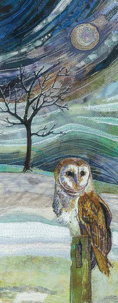 Textile art free machine embroidered picture of an owl in a moonlit landscape, created by the wonderfully talented Rachel Wright.