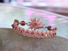 Copper  Wire woven Bracelet with Brown AB by BentMetalsandBeads, $45.00