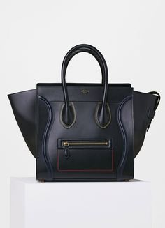 Mini Luggage Handbag in Double Stitching Calfskin - Céline