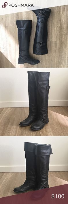 ❤️Hush Puppies over the knee leather boots Hush Puppies over the knee black leather boots with buckles. Excellent condition and the leather is very soft. The leather boots can be folded to achieve a different look. Same day/next day shipping  No trade! Hush Puppies Shoes Over the Knee Boots