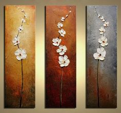 Hand Painted Flowers Dancing Petals Modern Canvas Knife Painting Floral Oil Painting Wall Art Pictures For Living Room 3 Pieces - Trends 2019 Painting Acrylic Acrylic Flowers, Oil Painting Flowers, Texture Painting, Oil Painting On Canvas, Diy Painting, Knife Painting, Painted Flowers, Flower Paintings, Wall Paintings