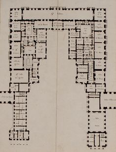 First floor plan, Château de Versailles (1814). It shows the pre-revolutionary layout before the huge reforms undergone under Louis Philippe I in 1837.