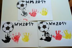 Weltmeister / Soccer World Cup Winner, Europameisterschaft 2016, EM 2016, Basteln mit Kindern, Fussball , Basteln U3 , Basteln Ü 3, Handabdrücke , Kinder Hand