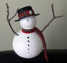 Snowman Gourd by gourdchairman on Etsy, $30.00