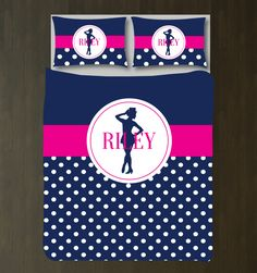 You love to tap and perform, so why not dream about it under your new tap dance themed duvet cover?  You can customize this bedding set it in any of the colors from our palette or choose the navy blue, hot pink and white option shown. We will personalize it with your name. Perfect for any musical theatre or tap dance lover. Preppy girls and teens bedroom decor.