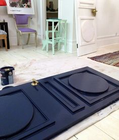 Add your own dramatic paneling to your doors via @Jenny Komenda