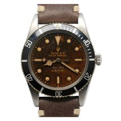 Rolex Stainless Steel James Bond Tropical Submariner Wristwatch Ref 5508 circa 1966 | From a unique collection of vintage wrist watches at http://www.1stdibs.com/jewelry/watches/wrist-watches/