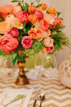 #WeddingCenterpiece with Chevron Linens I B Street Photo I #chevron #peonies #ranunculus