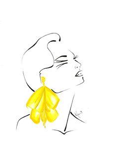 Sunny disposition. Oscar de la Renta earrings illustrated by Fashion Strokes