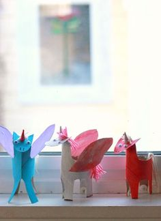 DIY Unicorns from toilet paper rolls -- easy and fun!