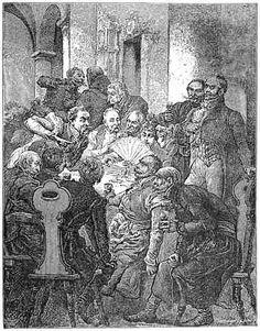 Pan Rejent Bolesta...  Teraz ręce przy boku miał, w tył wygiął łokcie,  Spod ramion wytknął palce i długie paznokcie,  Przedstawiając dwa smycze chartów tym obrazem.