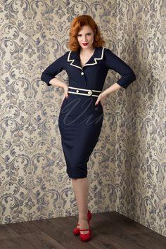 TopVintage exclusive ~ 50s Emma Pencil Dress in Navy