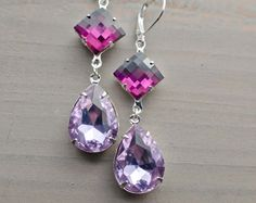Prom Accessories, Compliments, Wedding Ideas, Drop Earrings, Purple, Beautiful, Jewelry, Fashion, Moda