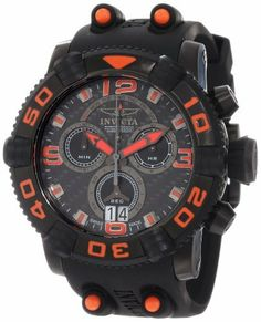Invicta Men's 12259 Sea Hunter Chronograph Carbon Fiber Dial Black Polyurethane Watch Invicta. $322.89. Chronograph functions with 60 second 30 minute and 10 hour subdials with orange hands; day function at 12:00 and date function at 6:00. Water-resistant to 300 M (984 feet). Carbon fiber dial with black and orange hands, hour markers and Arabic numerals; luminous; unidirectional black ion-plated stainless steel bezel with black ring and orange Arabic numerals; black ion-plated...