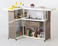 All the benefits of a built-in bar at a fraction of the cost. Set includes 1 bar, 1 drop in cooler, 1 umbrella, 1 travel bag, and 1 ice bin. Bar includes 3 levels of shelving. Portable Outdoor Bar, Outdoor Bar Sets, Outdoor Bar Table, Patio Bar Set, Deck Bar, Mobile Bar, Portable Bars For Sale, L Shaped Bar, Large Patio Umbrellas