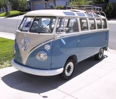 VW Bus- my husband painted a VW bus like this.