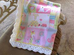 Baby Girl Animal Nursery Blanket, Fleece Blanket, Crocheted Blanket by Lorettescottage on Etsy