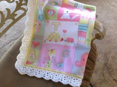 Baby Girl Animal Nursery Blanket, Fleece Blanket, Crocheted Blanket by Lorettescottage on Etsy