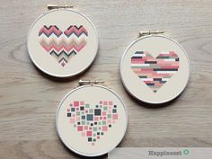 3 geometric modern cross stitch heart patterns, hearts, set of 3, PDF pattern ** instant download**