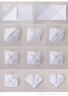 Origami Hearts at http://www.HELLOmynameisHeather.com — free photo tutorial. valentine paper heart