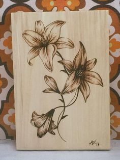 Flowers, Pyrography, Wood, Art