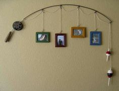 Mariah-- this would be cute at the cabin.  Old fishing rod and pictures hung from the eyelets of the pole