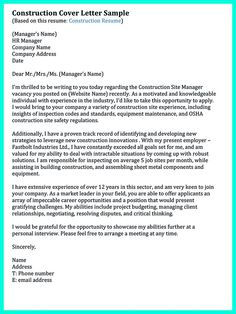 Cover Letter Template For Construction Worker  Construction Cover Letter