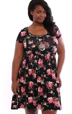Deb Shops Plus Size Rose Print Cap Sleeve Babydoll Dress with Sheer Lace Back $30.00