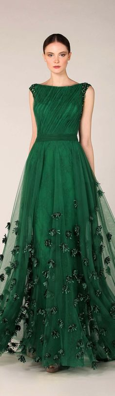 Think it's time for another green evening gown! Tony Ward Fall Winter 2014 http://www.pinterest.com/JessicaMpins/