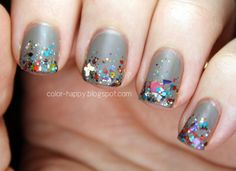 Gray nails with multicolor glitter - nail art - manicure