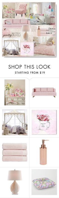"""""""Pastel home decor"""" by pengy-vanou ❤ liked on Polyvore featuring interior, interiors, interior design, home, home decor, interior decorating, Gus* Modern, PBteen, Oliver Gal Artist Co. and Christy"""