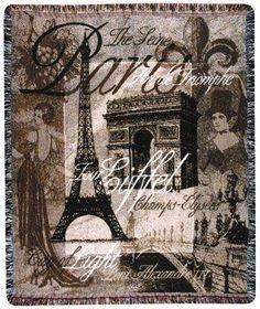 "50"" x 60"" Paris Landmarks Eiffel Tower Arc de Triomphe Tapestry Throw Blanket"