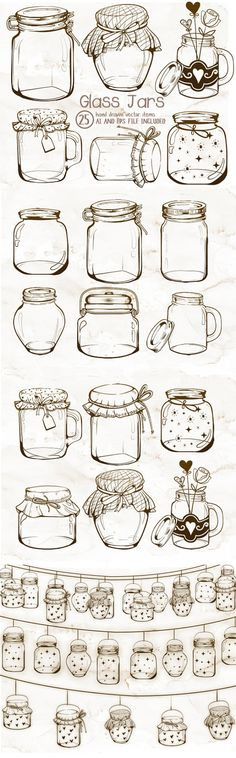 This is a listing for a set of mason or glass jars clipart. Every graphic included in this set was hand drawn and sketch in Adobe Photoshop and