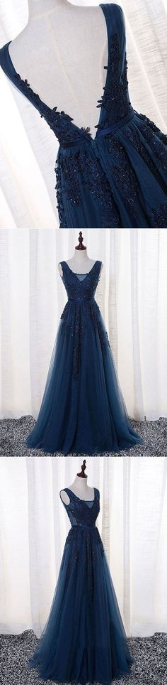 Dark blue v neck tulle long prom dress, lace evening dress – trendty