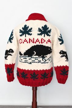 Canada Cardigan Jumper Sweater Cowichan Curling Sweater vintage knitting on Etsy, $139.00