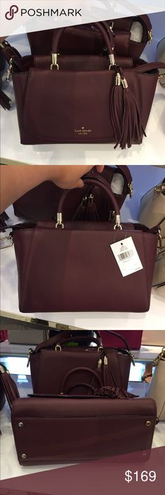 Kate Spade Longacre Court Satchel Bag Bag Length:Approximately 12 inches on the widest portion Bag Depth:Approximately 6 inches Bag Height:Approximately 7 1/2 inches A long shoulder strap with the purse Material:Leather Color:Wine Brand new with tag MSRP $379 Price is firm!!! kate spade Bags Satchels