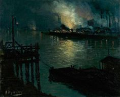 Aaron Henry Gorson (1872-1933) - Mills at Night on the Monongahela, Pittsburgh