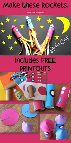Rocket Craft Activity includes FREE print-outs and instructions to create these colourful rockets. art for kids preschool